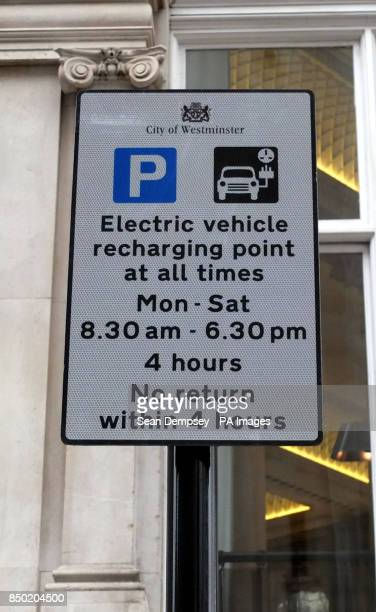 APRIL 15 An electric vehicle recharging point power point at Horse Guards in Westminster London as almost half of drivers would consider buying an...