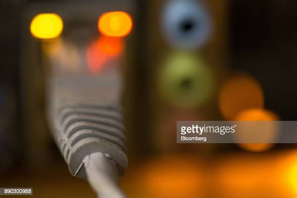 An electrical cable connects to a transformer used to power cryptocurrency mining machines at the SberBit mining 'hotel' in Moscow Russia on Saturday...