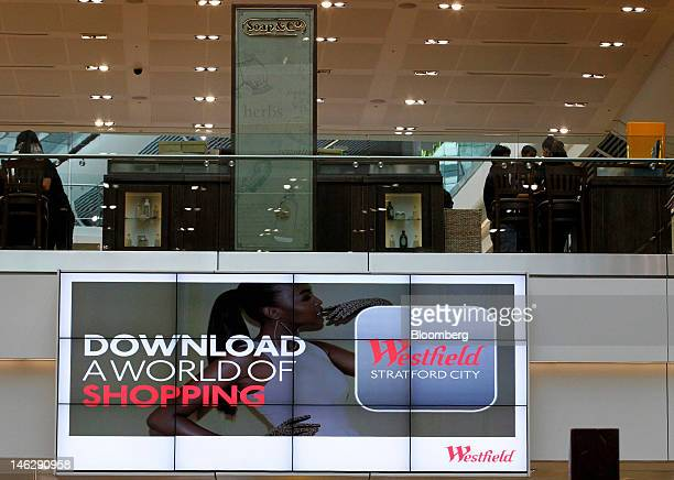 An electronic advertising board is seen at the Westfield Stratford City mall operated by Westfield Group in London UK on Tuesday June 12 2012 London...
