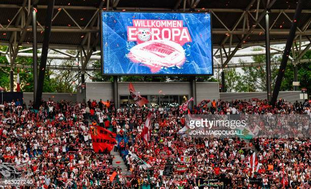 'Welcome Europe' after the Bundesliga match RB Leipzig vs Bayern Munich in Leipzig on May 13 2017 Though Leipzig lost the match they've secured a...