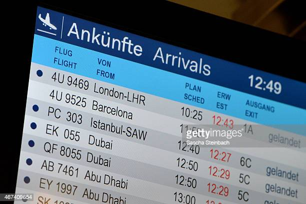 An electronic board displays non status of Germanwings flight 4U9525 from Barcelona to Duesseldorf at Duesseldorf International Airport on March 24...