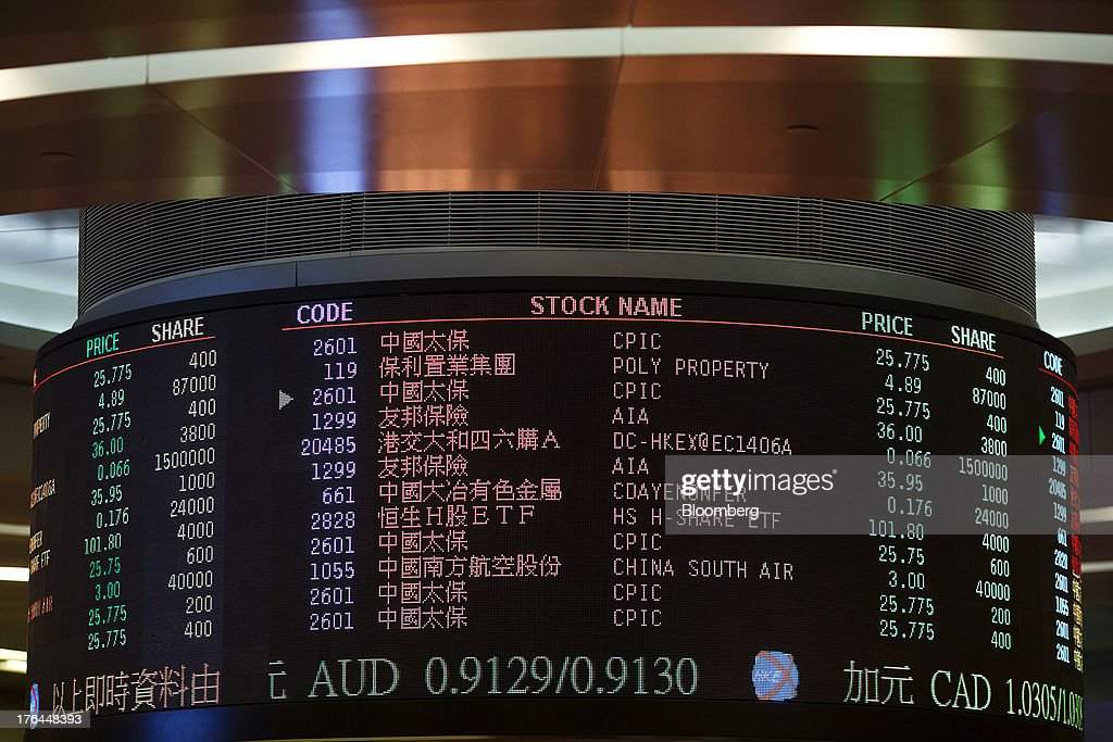 An electronic board displays share prices on the trading floor of the Hong Kong Stock Exchange in Hong Kong, China, on Tuesday, Aug. 13, 2013. Hong Kong Exchanges & Clearing Ltd., operator of the Hong Kong Stock Exchange, is scheduled to release second-quarter results tomorrow. Photographer: Jerome Favre/Bloomberg via Getty Images