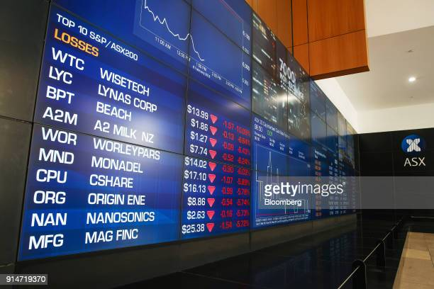 An electronic board displays stock information at the Australian Securities Exchange operated by ASX Ltd in Sydney Australia on Tuesday Feb 6 2018...