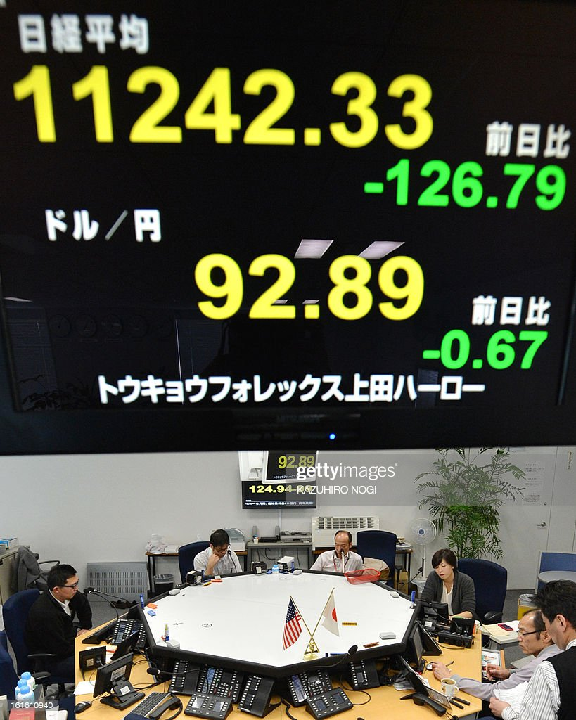 An electronic board flashes the numbers of the Tokyo Stock Exchange (upper) and the foreign exchange rate of the yen against one US dollar (bottom) at a foreign exchange brokerage in Tokyo on February 13, 2013. Japan is cast as the villain in a heated currency drama, accused of driving down the yen's value to shore up its fragile economy, as a statement from financial powers fails to reassure markets ahead of G20 talks.