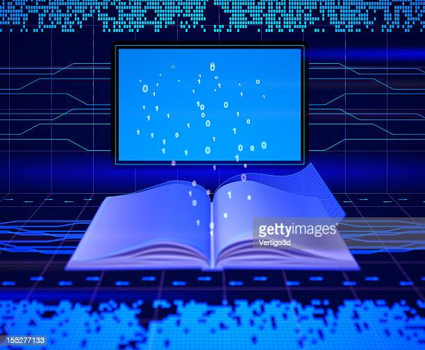 an electronic book with lights beaming out of it - storytelling stock pictures, royalty-free photos & images