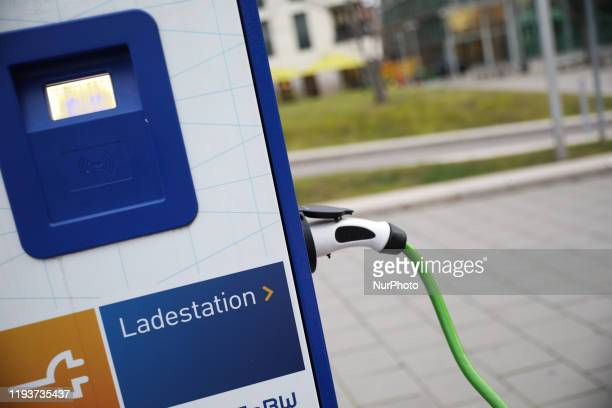 An electronic car in an electric fueling station in Stuttgart Germany on January 14 2020