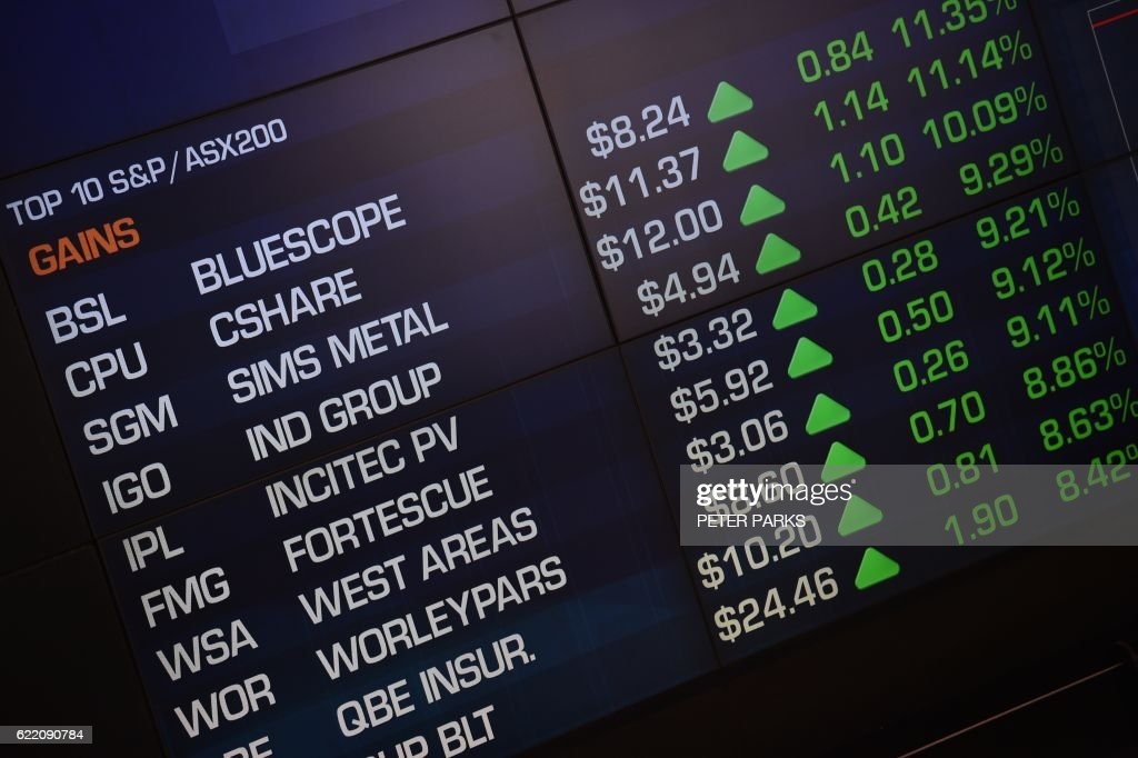 An electronic display at the Australian Securities Exchange