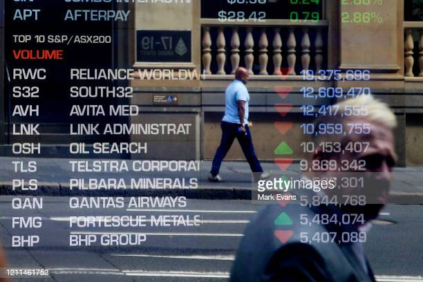 An electronic display showing stocks is seen at the Australian Stock Exchange on March 10 2020 in Sydney AustraliaThe Australian sharemarket suffered...