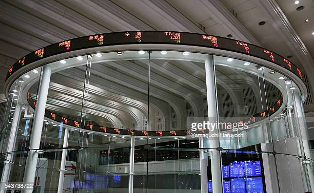 An electronic stock price of the Japan Exchange Group Inc's Tokyo Stock Exchange is seen in Tokyo Japan on July 2013 Photo by Haruyoshi Yamaguchi