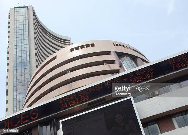 An electronic stocks board flashes stocks that have fallen on the Bombay Stock Exchange building in Mumbai India on Thursday Aug 16 2007 Asian stocks...