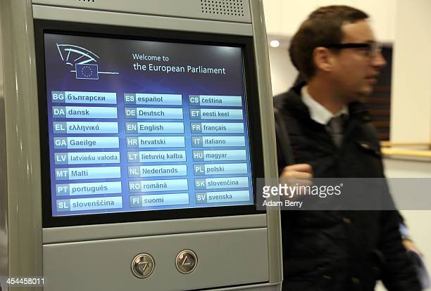 An electronic terminal offering information in the languages of the European Union member states stands in the European Parliament building on...