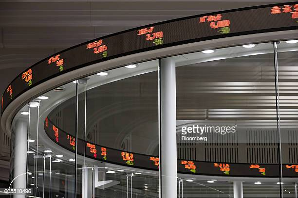An electronic ticker stands above the trading floor at the Tokyo Stock Exchange operated by Japan Exchange Group Inc in Tokyo Japan on Wednesday Sept...