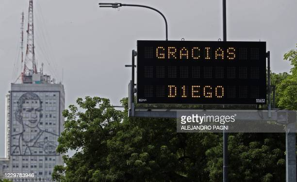 An electronic traffic board reads Thank you Diego, referring to late Argentine football star Diego Maradona, in Buenos Aires on November 25 on the...