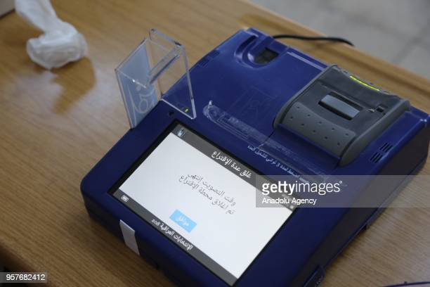 An electronic voting machine is seen as voting ends for the Iraqi parliamentary election at a polling station in Erbil Iraq on May 12 2018