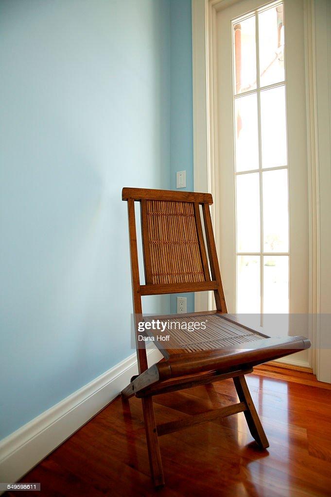 An Elegant Folding Chair In A Robinsegg Blue Bedroom High ...