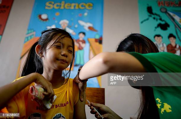 An elementary student grimaces as a nurse administers an antidengue vaccine at Parang Elementary School in Marikina west of Manila on April 4 2016...
