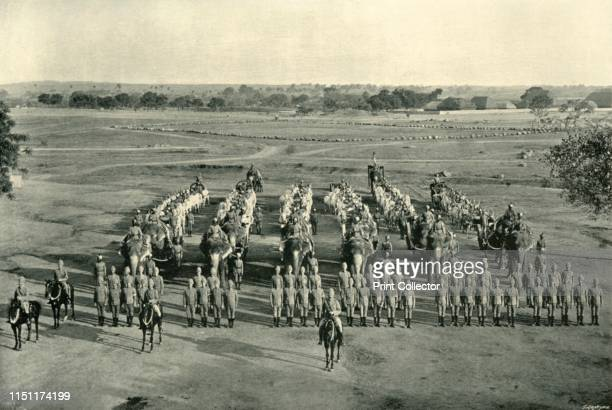 An Elephant Battery Camp of Exercise Rawal Pindi' circa 1890 British and Indian soldiers with elephants at Rawalpindi in India From The Life and...