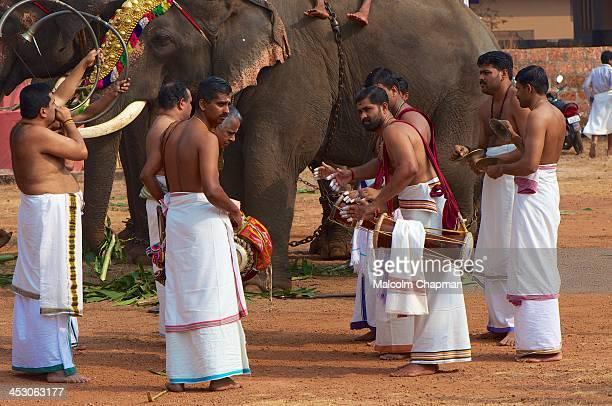 An Elephant Festival during a hindu temple festival at the Adikadalayi Sri Krishna Temple, Adikadalayi, Kannur, Kerala, India on FEBRUARY 6, 2012....