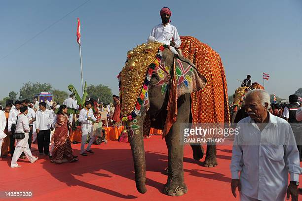 An elephant is pictured among devotees from the Bochasanwasi Shri Akshar Purushottam Swaminarayan Sanstha participating in the 'Mahayagna For World...