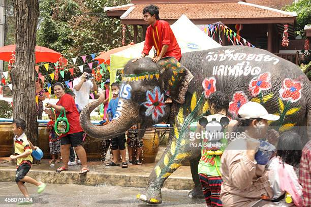 BANGKOK AYUTTHAYA THAILAND An Elephant plays with people passing on street Songkran Thailand's new year festival marks the start of the Thai New Year...