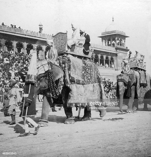 An elephant procession passing Jumma Masjid Delhi India 1900s Stereoscopic card Detail