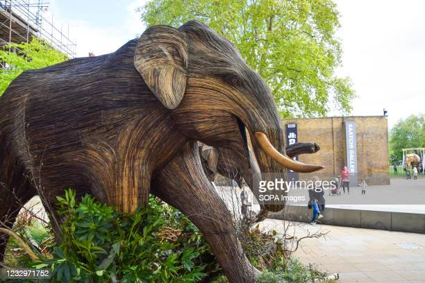 An elephant sculpture at the Duke of York Square in Chelsea, London. Part of the CoExistence art installation, which aims to shed light on human's...