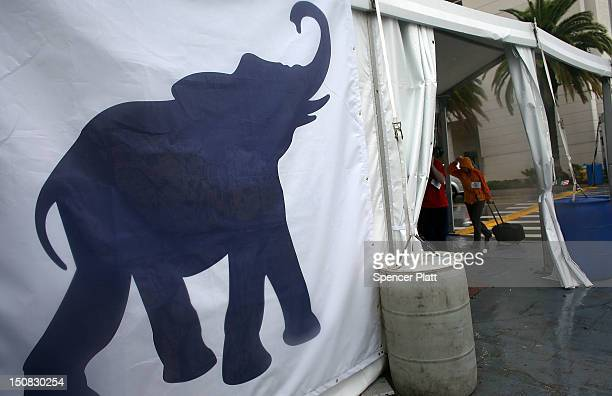 An elephant sign is seen on the side of a tent during the Republican National Convention at the Tampa Bay Times Forum on August 27 2012 in Tampa...