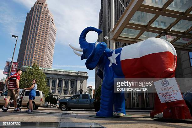 An elephant statue decorated with the state flag of Texas is seen amid preparations for the arrival of visitors and delegates for the Republican...