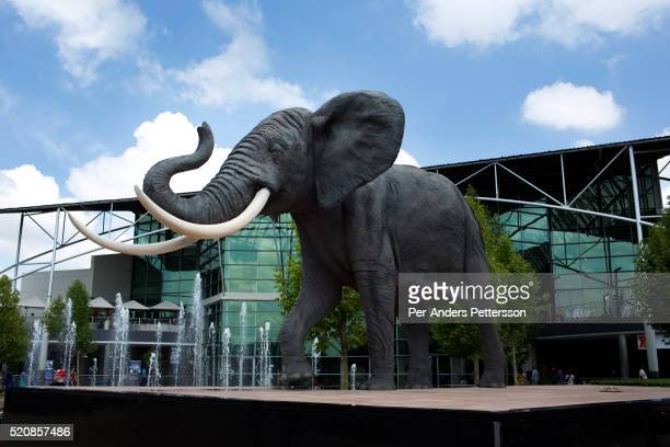 An elephant statue stands on February 2 2014 at Maponya shopping Mall Soweto South Africa Maponya is one of several new shopping malls in the...