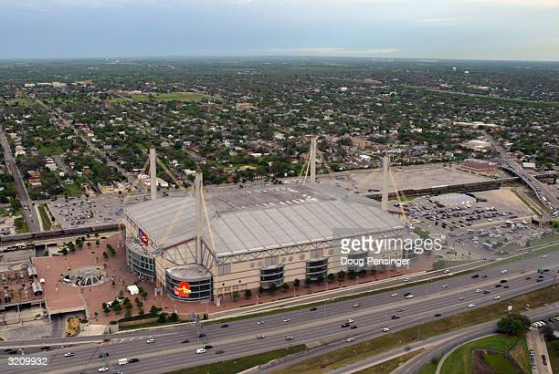 An elevated exterior view of the the Alamodome on the eve of the NCAA Men's Final Four at the Alamodome on April 2, 2004 in San Antonio, Texas.