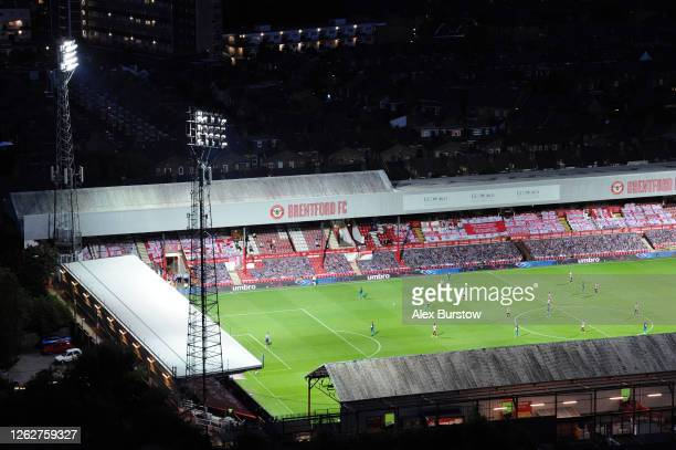 An elevated general view of Griffin Park during the Sky Bet Championship Play Off Semifinal 2nd Leg match between Brentford and Swansea City at...