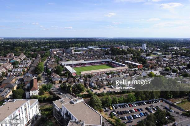 An elevated general view of Griffin Park prior to the Sky Bet Championship Play Off Semifinal 2nd Leg match between Brentford and Swansea City at...