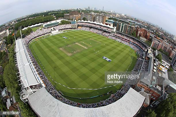 An elevated general view of the ground during day one of the 2nd Investec Ashes Test match between England and Australia at Lord's Cricket Ground on...