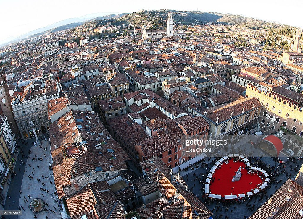 An Elevated View Of A Heart Shaped Carpet In Signori Square On Valentineu0027s  Day On February