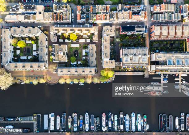 an elevated view of amsterdam at sunrise - stock photo - amsterdam stock pictures, royalty-free photos & images