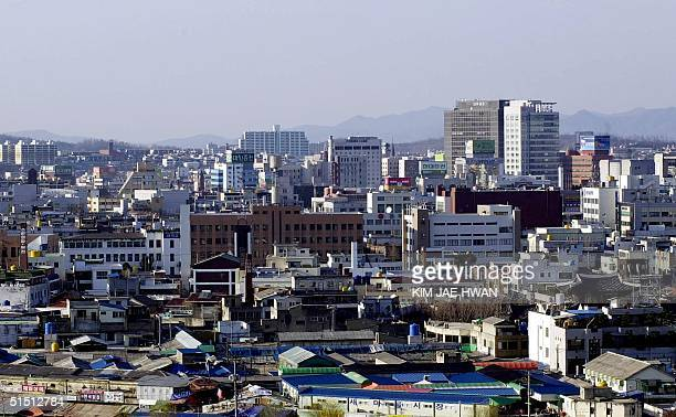 An elevated view of Chonju city on 29 March 2001 Chonju city is one of the selected cities in Korea to host the World Cup 2002 AFP PHOTO/KIM JAEHWAN