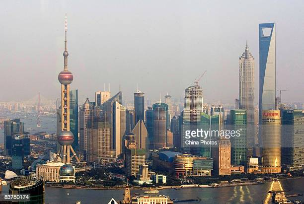 An elevated view of Pudong on November 19 2008 in Shanghai China Shanghai government plans to invest 500 billion yuan as it implements the central...