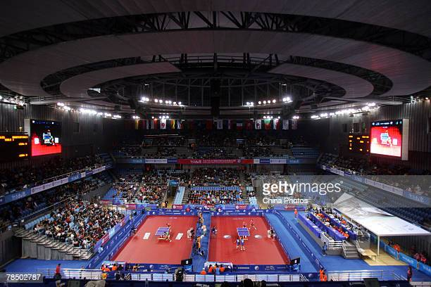 An elevated view of the arena is seen during the Good Luck Beijing 2007 Volkswagen Pro Tour Grand Finals part of the 2008 Olympics test events at the...