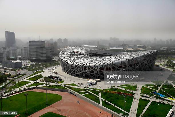 An elevated view of the Bird's Nest is seen on June 20 2009 in Beijing China The National Stadium known as the 'Bird's Nest ' has become a top...