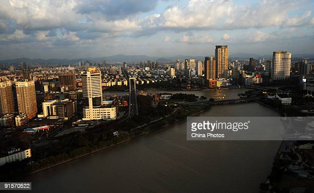 An elevated view of the downtown area on October 7 2009 in Ningbo of Zhejiang Province China Ningbo a cultural and historic city of China has seven...