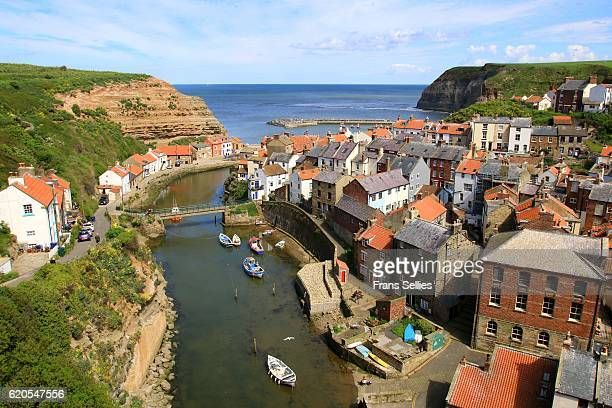 An elevated view of the fishing village of Staithes, North Yorkshire, England