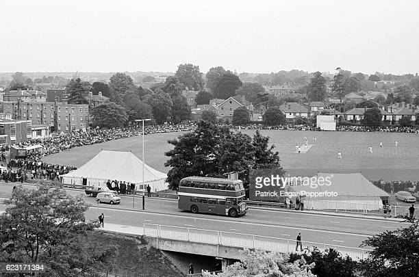 An elevated view of the Gillette Cup Quarter Final between Essex and Lancashire at the County Ground Chelmsford 30th June 1971
