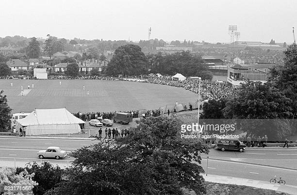 An elevated view of the Gillette Cup Quarter Final between Essex and Lancashire at the County Ground Chelmsford 30th June 1971 The football ground is...