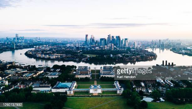 an elevated view of the london skyline - stock photo - the o2 england stock pictures, royalty-free photos & images