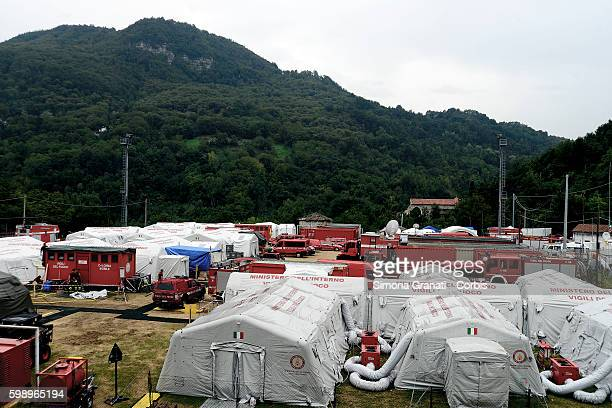An elevated view of the tent camp erected for earthquake victims on August 31, 2016 in Arquata del Tronto, Italy. The region was struck by a...