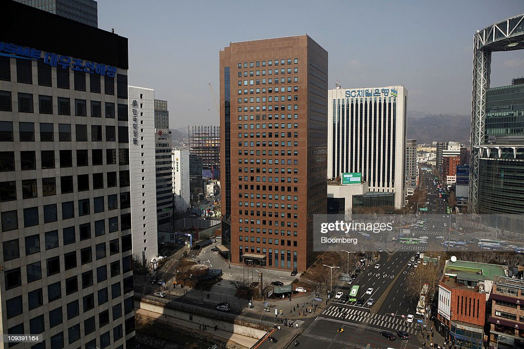 An elevated view of the YoungPoong Building, center, which houses the Deutsche Bank AG office, in Seoul, South Korea, on Thursday, Feb. 24, 2011. Deutsche Bank AG was given the heaviest penalty ever levied on a foreign securities firm in South Korea for triggering a Nov. 11 stock market rout that erased $26 billion of value. Photographer: Jean Chung/Bloomberg via Getty Images