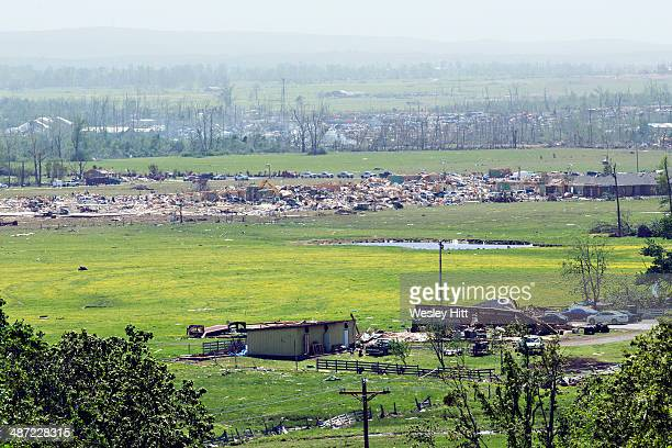 An elevated view shows damage along the path of a tornado that yesterday tore through the area for the second time in three years on April 28 2014 in...