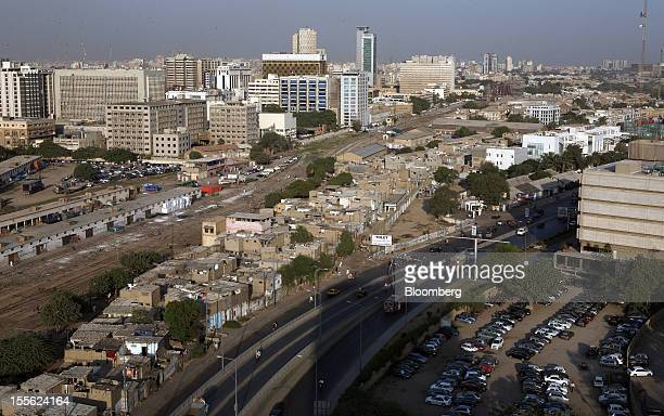 An elevated view shows the business and financial hub in Karachi Pakistan on Tuesday Oct 30 2012 Businesses in Pakistan's commercial capital are...