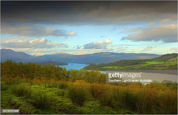 An elevated view to Loch Lomond in the Trossachs, Scotland.