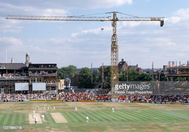 An elevated view towards the pavilion and the construction work on the new Bedser Stand as Gladstone Small bowls to Mark Taylor of Australia during...